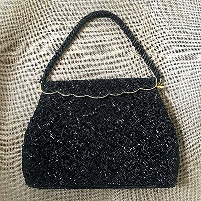 Vintage Black Gold Beaded Evening Purse