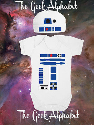 R2D2 Outfit Geek Baby Clothing Robot Coming Home Outfit Hat and Bodysuit Costume