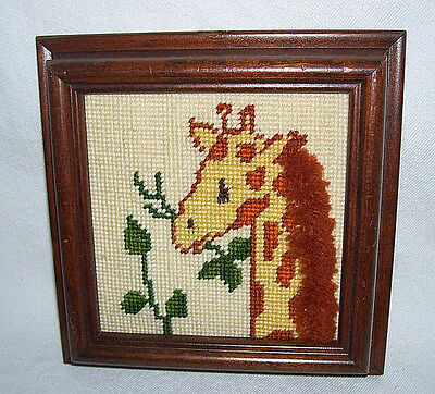 Giraffe Needlepoint Picture Wood Frame Vintage 1985 Handcrafted