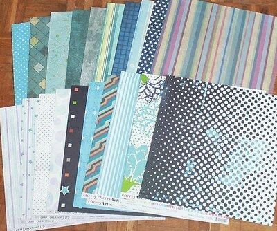 40 Assorted Sheets of 12x12 Scrapbooking Paper * Brand New (P3) Blues