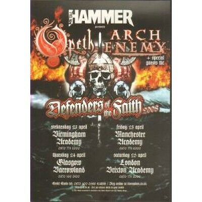 OPETH/ARCH ENEMY Defenders Of The Faith 2008 FLYER UK Metal Hammer 2008 Double