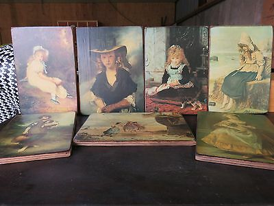 Set of 7 reproduction pictures on wooden board (no frame)
