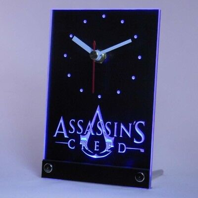 LED clock Science fiction geeky decor Assassins Creed Table desk decor