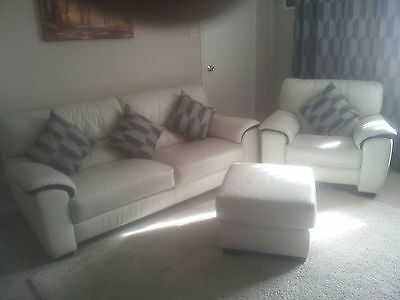Off White 3 Seater Sofa, Chair and Foot Stool with Black Inlay