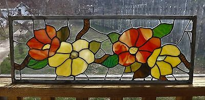 Vintage Stained Glass Window Panel Floral Flowers Tiffany Style transom Vertical