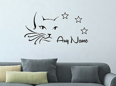 Personalised Cat And Stars Vinyl Wall Sticker Home Mural Decor Room Decal Art