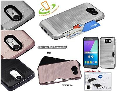 Samsung GALAXY J3 Emerge Hybrid Shockproof Rugged Card Holder Case Cover + Kit