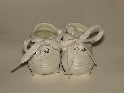 Shoes To Fit The Galoob Baby Face American Girl Doll White Tennis Mini Sketz