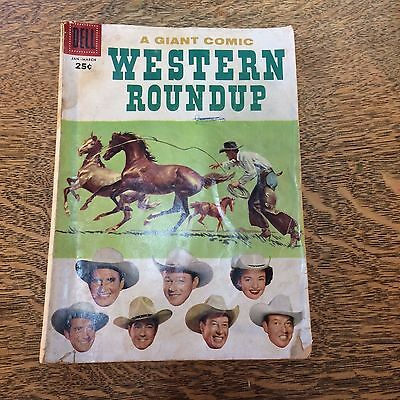 Dell Giant Comics Western Round Up #17 1957 Jan-March Cowboys Wild West VTG