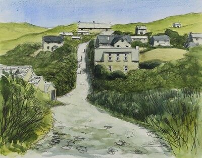 Cecil Riley - Cornish Village, Contemporary Watercolour