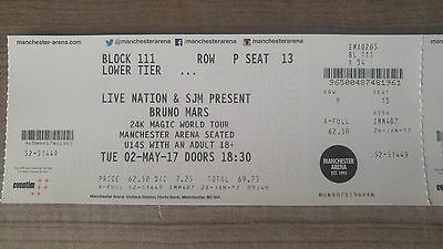Bruno Mars Tickets Manchester, United Kingdom 02 May 2 Persons Excellent Seats