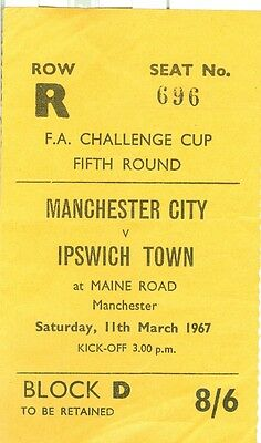 MANCHESTER CITY v IPSWICH TOWN - 1966/7 - FA Cup - ticket stub