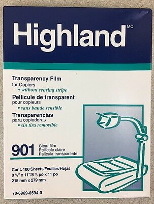 HIGHLAND TRANSPARENCY FILM 901 FOR COPIERS 99 Sheets 8.5x11 78-6969-8594-0