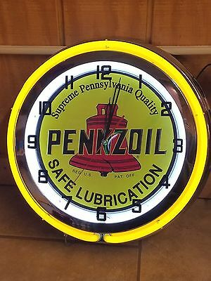 """18"""" PENNZOIL Safe Lubrication Sign Double Neon Clock With High Quality Embossed"""
