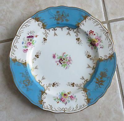 Antique Victorian Cauldon Ware Plate Hand Decorated Royal Warrant Turquoise