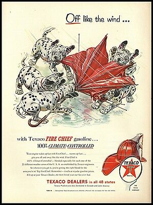 1954 Dalmatian Puppies Umbrella & Wind Art Texaco Fire Chief Vintage AD