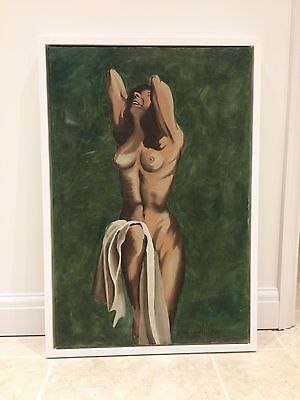 Canvas Oil Painting Antique Vintage Nude Framed