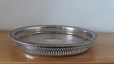 Vintage Cavalier Silver Plated Round Galleried Drinks Tray