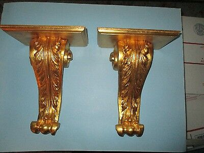 (2) Antique ITALIAN ROCOCO Wood CARVED Floral GILT ACANTHUS Corbel WALL SHELF