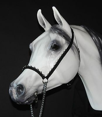 Hand Braided Arabian Style Show Halter, Horse Tack,  BLACK w/ SILVER ---NEW!