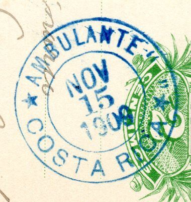 Costa Rica 2cts postcard - AMBULANTE postmmark - without text inside quotations