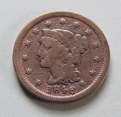 1846 1C Small Date RB Braided Hair Cent
