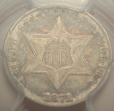 PCGS VF35 1871 Three Cent Silver Only 3400 Minted Tough 3cS Business Strike