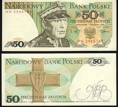 Poland 50 Zlotych 1988 Pick142c Mint Unc