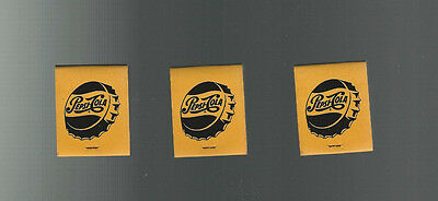 3 VINTAGE FULL PACKS PEPSI MATCHBOOK & MATCHES ADVERTISING 1960s Ben Robbins