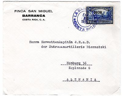 Costa Rica cover used from LA BARRANCA - Pacific railway station- to Germany