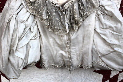 Antique Victorian Silk Jacket With Lace With Balloon Sleeves Estate Find