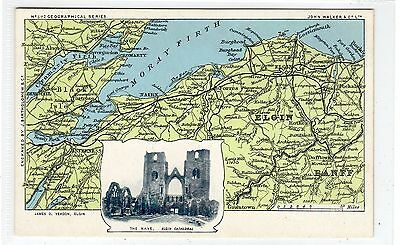 ELGIN CATHEDRAL: Bartholomew map of the Moray Firth postcard (C25809)