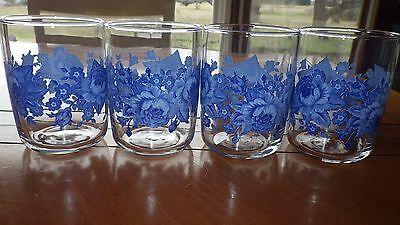 Blue Floral Juice Glasses by Libbey 4 9 ounce Blue Rose flat bottom tumblers