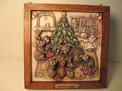 """Harmony Kingdom Picturesque Tile Cats """"purrfect Tidings"""" Holiday Theme W/box"""