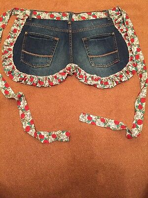 Ladies Pinny , Preloved Denim With Skulls And Roses Frill And Tie , Fashionable