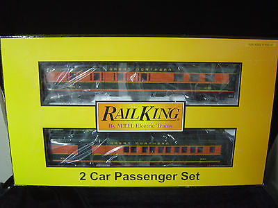 NEW O scale MTH Rail King  2 - 60' Madison passenger car set Great Northern