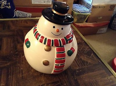 Fat ceramic snowman cookie jar by Gibson