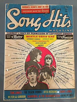 """Song Hits"" magazine signed by all 4 members of the Beatles.  Extremely rare!"
