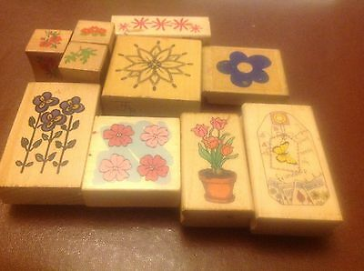 Wooden Craft Rubber Stamps - set of 10