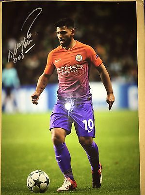 Sergio Aguero Signed 12x8 Photo Manchester City Genuine With Coa Certificate
