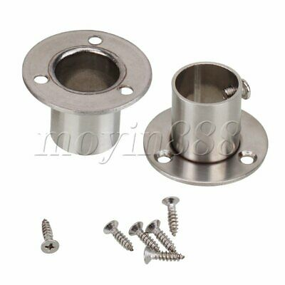 2 Pcs 19mm Closet Rod Stainless Steel Flange Socket Holder With Mounting Screws