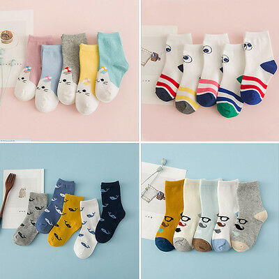 5 Pairs Girls Boys Kids Cartoon Soft Cotton Socks For Age 0-10 Year Children NG