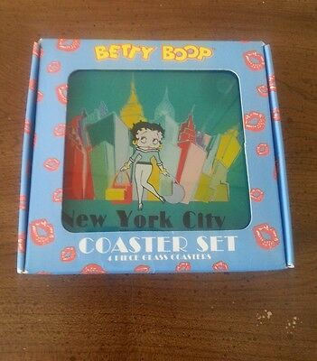 Betty Boop 4 Piece Glass Coaster Set With Box