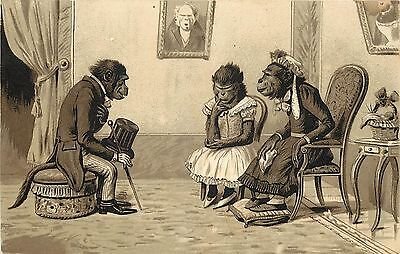 Vintage Trade Card; Dressed Monkey Mother, Girl & Suitor, Devers Co. Portland OR