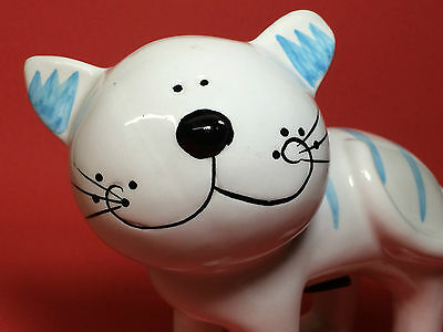 Collectable CAT Kitten Kitty bank Ceramic NANTUCKET HOME white blue standing