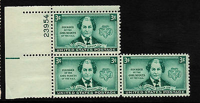 USA 1948 Juliette Low - Block of 3 - MNH & LHM - top stamp is LHM