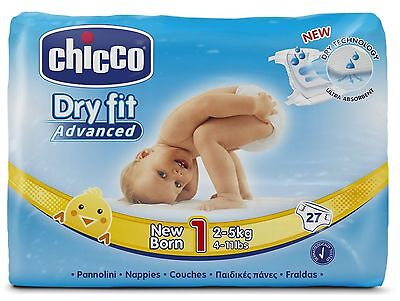 CHICCO DRY FIT ADVANCED NEW BORN, 27 PANNOLINI, 2-5 kg, TAGLIA 1