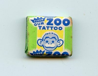 1960's Fleer Zoo Tattoo Bubble Gum Unopened Piece 1c Topps Bazooka Wrapper