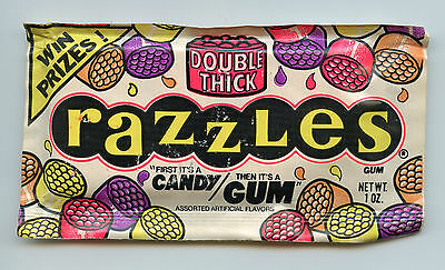 1970's Fleer Double Thick Razzles Unopened Pack Gum Candy Topps Wrapper