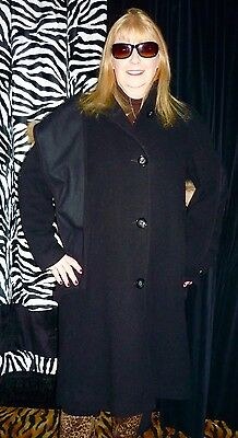 Ladie'S Black Wool Blend Winter/fall Coat With Raccoon-Trimmed Hood-Size 12 -New